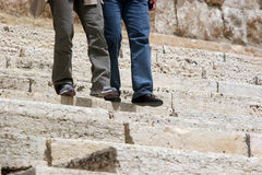 Steppin Up/Down. Climbing steps, very old steps royalty free stock images