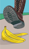 Stepping on banana. The foot in the shoe does step on a banana peel. A moment before. Cartoon  illustration with  objects Stock Photos