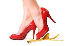 Stepping on banana skin Royalty Free Stock Photography