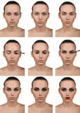 Stepping makeup. Nine steps. Smokey. Stock Images