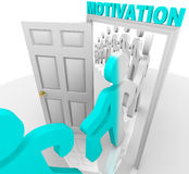 Stepping Through the Motivation Doorway. A line of people step through the motivation doorway and become transformed Stock Images
