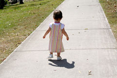 Stepping Out. A toddler learning to walk in the park royalty free stock images