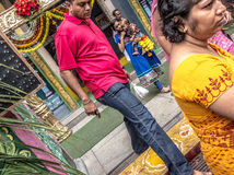 Stepping out from the temple in India Stock Images