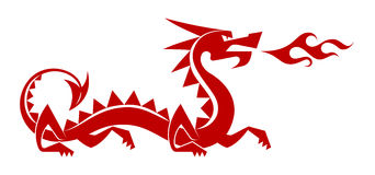 Stepping Red Dragon. Stylized/simplified silhouette of a ''chinese'' dragon vector illustration