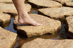 Stepping on Sandstone royalty free stock images