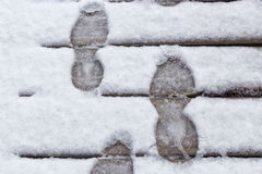 Stepping on snow Royalty Free Stock Image