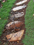 Stepping stone path. Angled view of stepping stone path on grass Royalty Free Stock Images