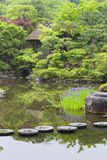 Stepping Stones Across Japanese Garden Pond Stock Images