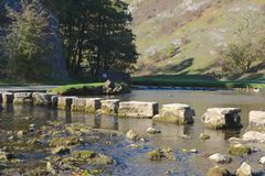 Stepping stones. Across the river Dove, Derbyshire Royalty Free Stock Image