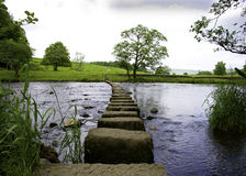 Stepping Stones. Across the River Hodder in the Forest of Bowland near Clitheroe, Lancashire, England Stock Images