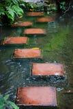 Stepping stones across stream stock image