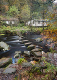 Stepping stones in an autumn woodland scene Royalty Free Stock Photos