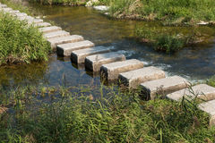 Stepping stones cross over a stream Royalty Free Stock Images