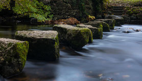 Stepping Stones. Deep inside Dartmoor National Park I found this old style stream crossing Royalty Free Stock Photos