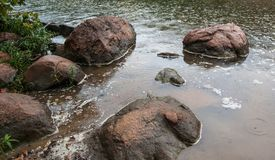 Stepping Stones in the Devil`s Swimming Hole. Oct. 2018. These boulders were lying next to the bank of the Devil`s Swimming Hole in Ink`s Lake State Park in the stock images