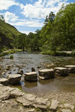 Stepping Stones at Dovedale. The famous stepping stones across the River Dove at Dovedale Royalty Free Stock Photo