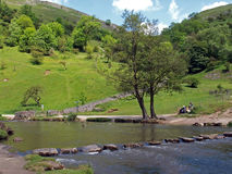 Stepping stones in Dovedale. stock image