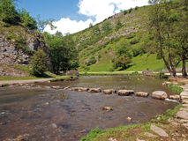 Stepping stones in Dovedale. Royalty Free Stock Photos
