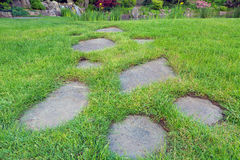 Stepping Stones in Garden Grass Lawn Royalty Free Stock Images