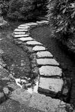 Stepping Stones Through Garden Pond. A series of stepping stones over a garden pond create an S-shaped path into the background. (Scanned from black and white Stock Photography