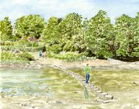 Stepping Stones. A hand painted illustration of a landscape scene with stepping stones across a small river Stock Images
