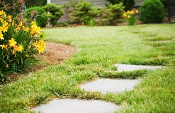 Stepping Stones In Front Yard Royalty Free Stock Images