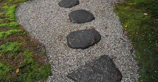 Stepping stones. JAPAN. Stepping stones on gravel in a japanese garden Stock Images