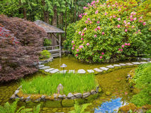 Stepping stones over the pond in the spring Royalty Free Stock Photography