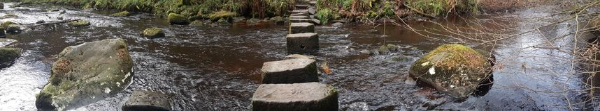 Stepping Stones England United Kingdom Yorkshire Hebden Tourist royalty free stock image