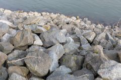 Stepping stones over river in worms - Germany stock photography