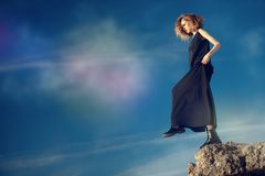 Stepping to abyss stock image