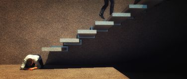 Steppingstone in a stairway. Man crouching to replace a step in a stairway MAn being stepped on to advance the position of another concept vector illustration