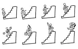 The steps. Handdrawn stick figure businessman climbing up the stairs Royalty Free Stock Photo