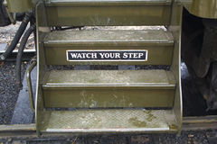 Steps. A set of steps on a passenger train Stock Image