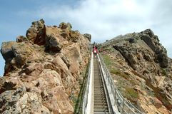 Steps. Leading down to Point Reyes Lighthouse, California Royalty Free Stock Photography