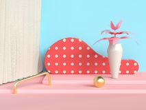 Steps abstract scene blue wall pink floor tree pot/jar 3d render. Ing royalty free illustration