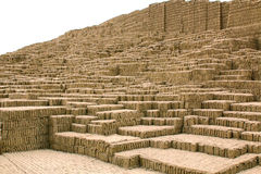 Steps of the adobe pyramid at Huaca Pucllana Royalty Free Stock Photo