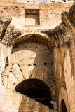 Steps and Ancient Arch in Coliseum. Old walls, arches and staircase in Roman Coliseum Stock Images