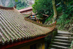 Steps by ancient Chinese buildings on mountainside Royalty Free Stock Photography