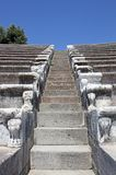 Steps of Ancient Pergamon. 's Odeon captured in one hot summer day with blue sky in Today's Bergama,Turkey stock photos