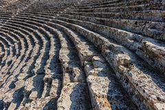 Steps at Ancient theater in Hierapolis Royalty Free Stock Images
