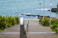 Steps at the Arcadia Portrush. Down to the Ladies bathing place Stock Photos