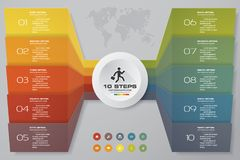 10 steps of arrow Infografics template. for your presentation. EPS 10 Royalty Free Stock Photography