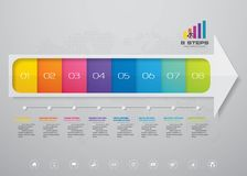 8 steps arrow infographics element template chart for presentation. EPS 10 vector illustration