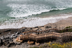 Steps for Beach Access to South Carlsbad State Beach Royalty Free Stock Photo