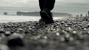 Steps on the beach stock video footage