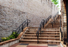 Steps with black metal railings Royalty Free Stock Photography