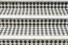 Steps. Black and white diamond tiles on Georgian steps Stock Images