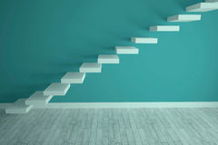 Steps in a blue room Royalty Free Stock Images
