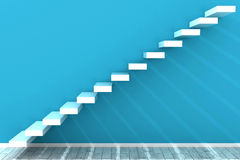 Steps in a blue room Royalty Free Stock Photo